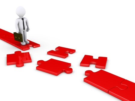 interrupted: 3d businessman standing on edge of a damaged puzzle path Stock Photo