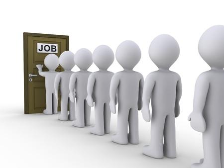 3d mensen in de rij te wachten op sollicitatiegesprek