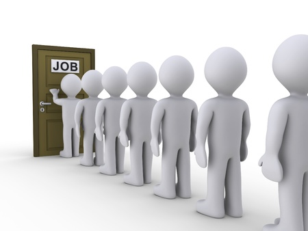 que: 3d people in line waiting for job interview Stock Photo