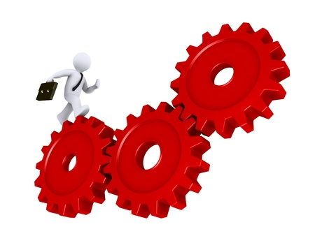 gear symbol: 3d businessman is running on three red cogs