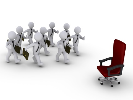Several 3d businessmen run towards a red chair