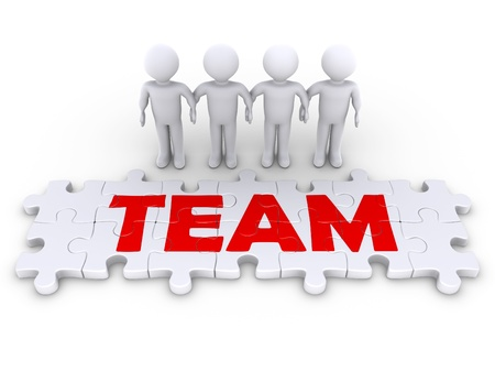 group  join: Four 3d people holding hands and puzzle pieces spelling the word team