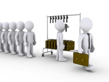 3d people waiting in line to become businessmen Stock Photo