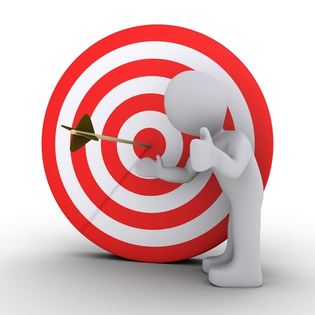 3d person satisfied is showing an arrow at the center of a red and white target
