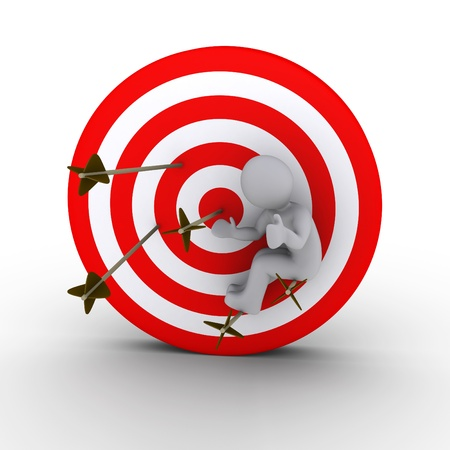 cgi: 3d person sitting on arrows shot at a red and white target