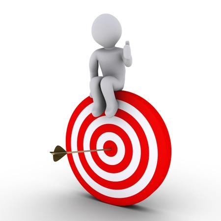 target market: 3d person sitting on target with an arrow at its center