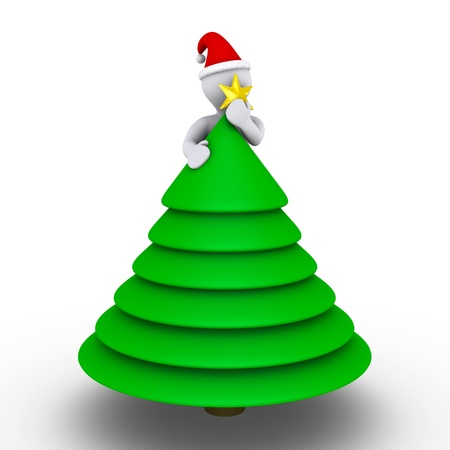 holding a christmas ornament: 3d person with hat is placing the star on the Christmas tree
