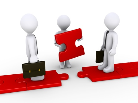 Twee 3d zakenlieden staande op rode puzzel pad en een ander houdt het ontbrekende stuk