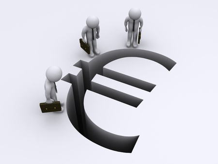 global crisis: 3d businessmen looking down to Euro sign gap Stock Photo