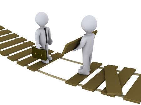 3d zakenman helpt elkaar om een beschadigde brug