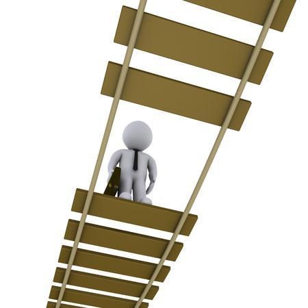 3d zakenman op beschadigde hangbrug is op zoek naar beneden