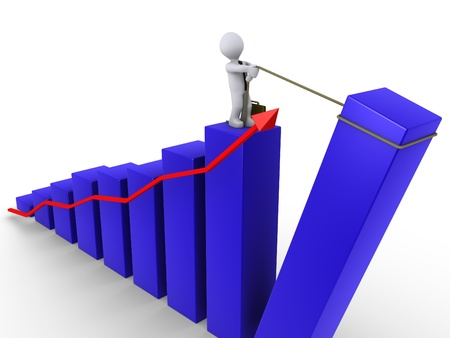 pulling money: 3d businessman pulling up the last bar of blue chart with red arrow