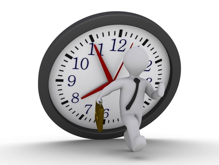 avoid: 3d person is running to avoid a falling clock