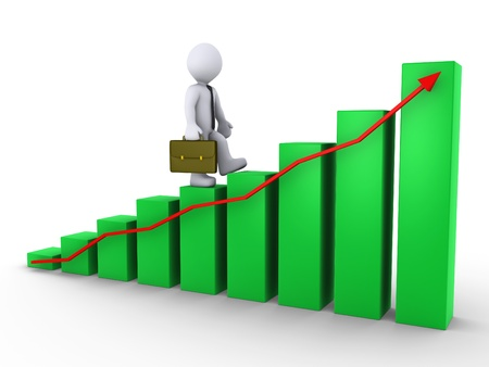 climbing stairs: 3d businessman is walking on green chart with red arrow