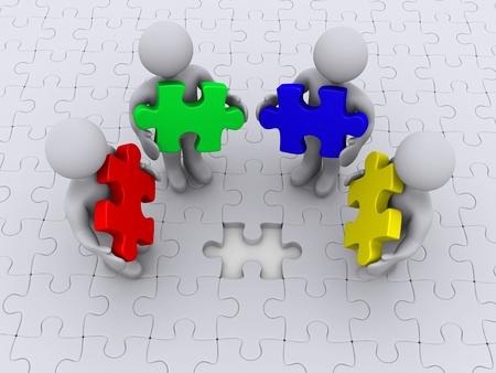 missing piece: Cuatro personas 3d que sostienen las diferentes piezas del rompecabezas de pie en rompecabezas con piezas que faltan Foto de archivo