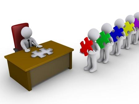3d Leute stehen Schlange halten Puzzleteile vor einer Person sitzt hinter einem Schreibtisch mit einer Form