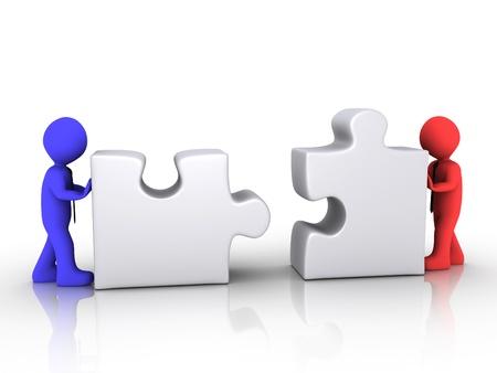 empujando: Dos hombres de negocios est�n presionando 3d diferentes piezas de un rompecabezas