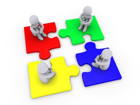 Four 3d people sitting on different puzzle pieces Stock Photo - 14521575