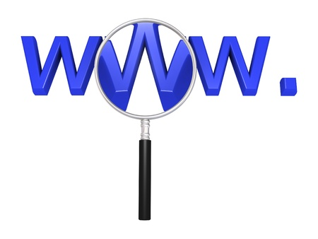 surfing the net: 3d magnifying glass in front of web initials Stock Photo