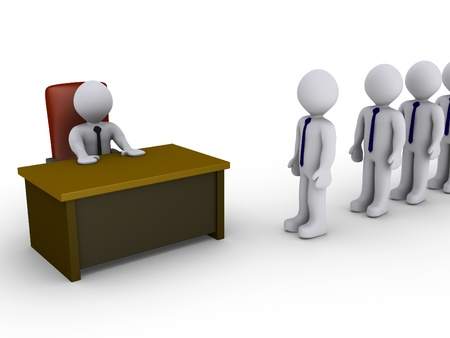 bureaucracy: 3d people in line wait to be interviewed by person behind a desk