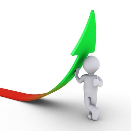 verhogen: 3d persoon leunend op een stijgende grafiek pijl