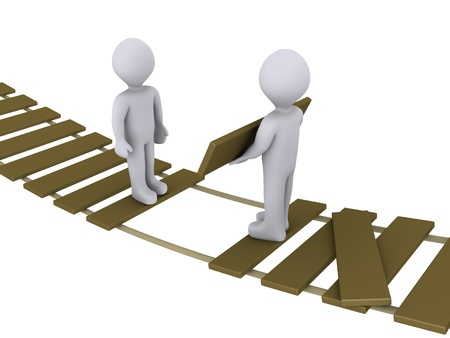 gaps: 3d person on suspended bridge is helping another to cross Stock Photo