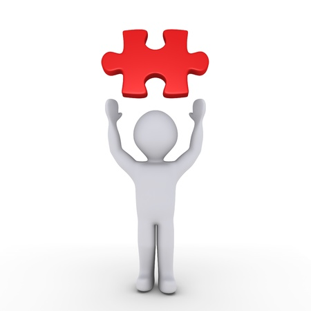 find a job: 3d person showing a red puzzle piece above him