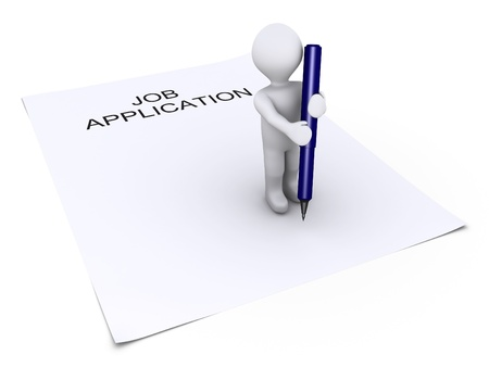 job opportunity: 3d person holding a blue pen is on top of a job application paper Stock Photo