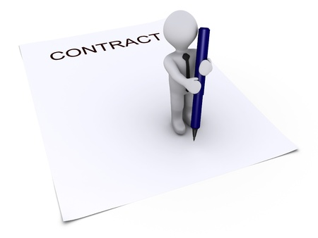autograph: 3d person holding a pen is on top of a contract paper Stock Photo