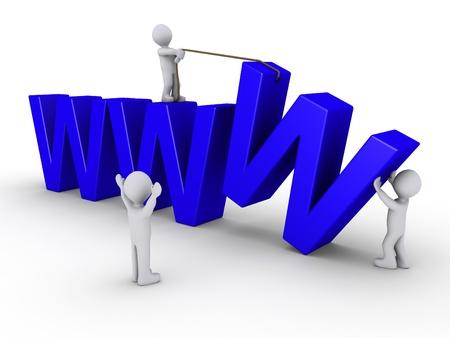 website: Drei 3D-Menschen zu arbeiten, um eine Webseite einzurichten, durch drei blaue W symbolisiert Lizenzfreie Bilder