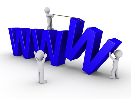 http: Three 3d people work in order to set up a website symbolized by three blue W Stock Photo