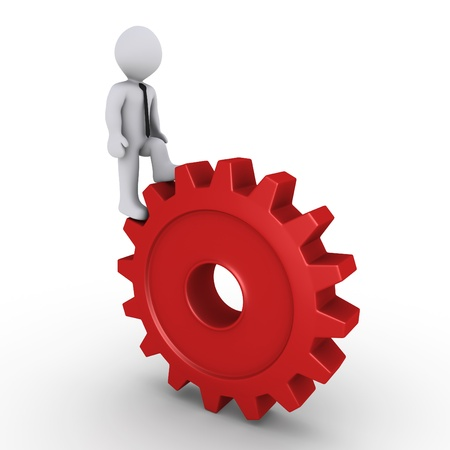 business symbols metaphors: 3d person climbing on a red cogwheel Stock Photo