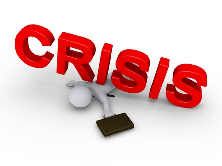 fallen: 3d businessman is crushed by red crisis word Stock Photo