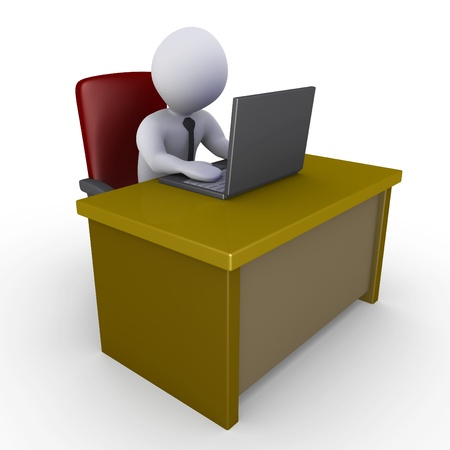 typing on laptop: 3d businessman sitting behind a desk and looking at a laptop Stock Photo