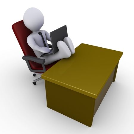 3d businessman with his feet on the desk is looking at laptop