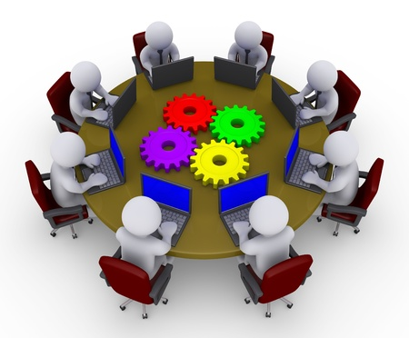 cogs: 3d businessmen around a table with four cogs are looking at laptops Stock Photo