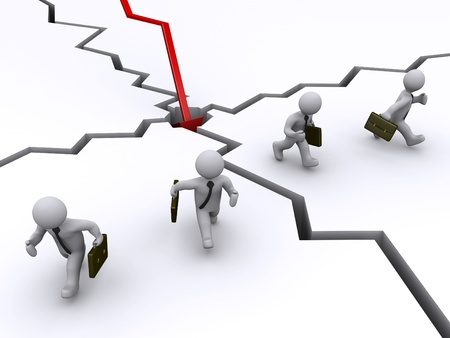 3d businessmen running away of red graph crashing Stock Photo - 14521592