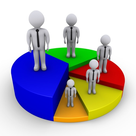 pie diagrams: Different sized 3d businessmen on pieces of pie chart Stock Photo