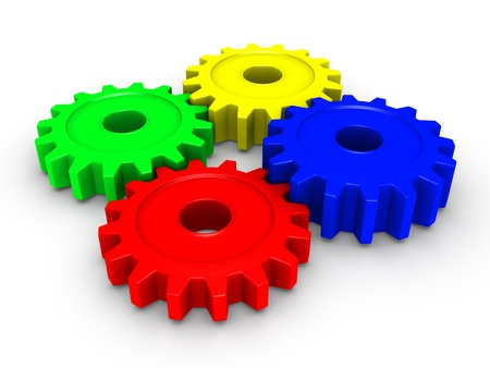 4 wheel: Four 3d colored cogwheels Stock Photo
