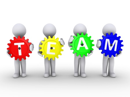 Four 3d people holding cogwheels that spell the word TEAM Stock Photo - 14521591