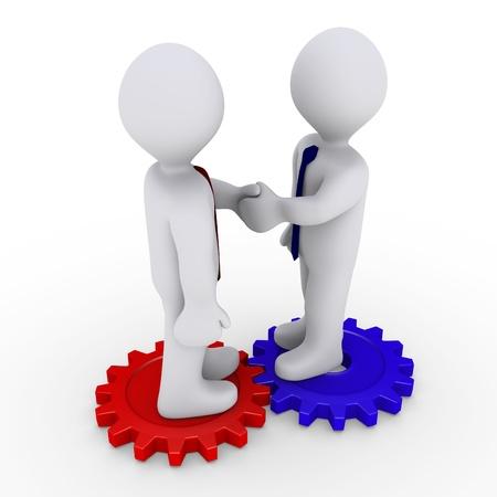 symbols metaphors: Two 3d businessmen shake hands on different cogwheels Stock Photo