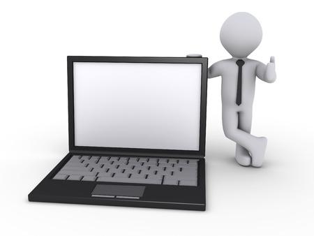 Happy 3d businessman holding a laptop