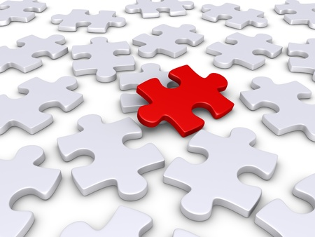 3d red puzzle piece amongst other white ones photo