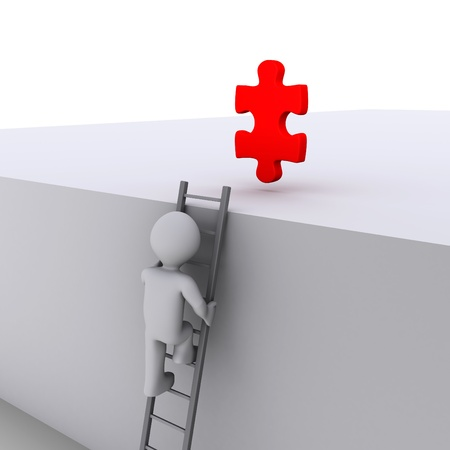 3d person climbing ladder to get a red puzzle piece photo