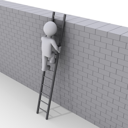 climbing ladder: 3d person climbing ladder over a brick wall