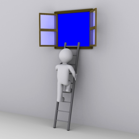 3d person climbing ladder to look out of open window photo