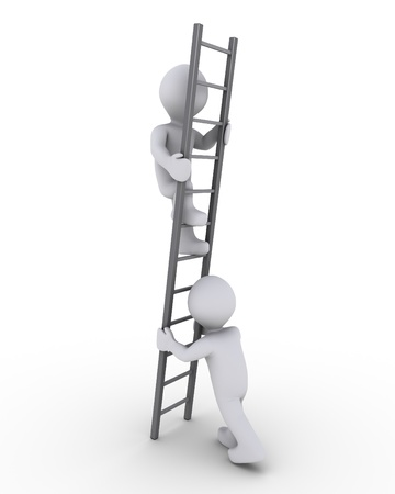 depend: 3d person is helping another to climb a grey ladder