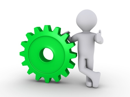 relaxed: 3d person holding a green cogwheel