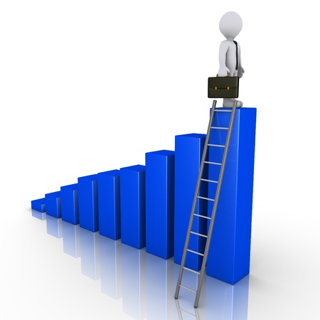 3d businessman is standing on top of a blue chart that has a ladder photo