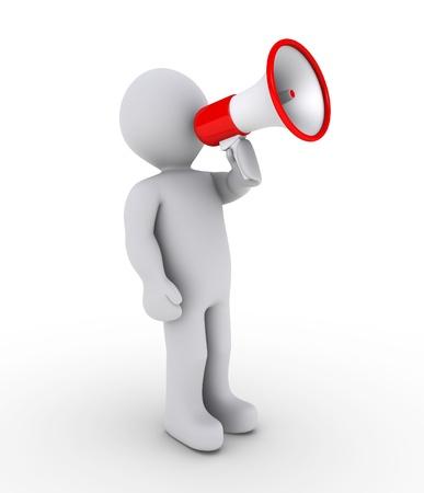 public service: 3d person shouting through a megaphone